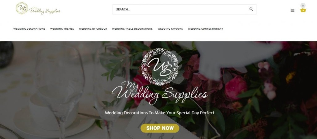 Website Design Example - Wedding Supplies