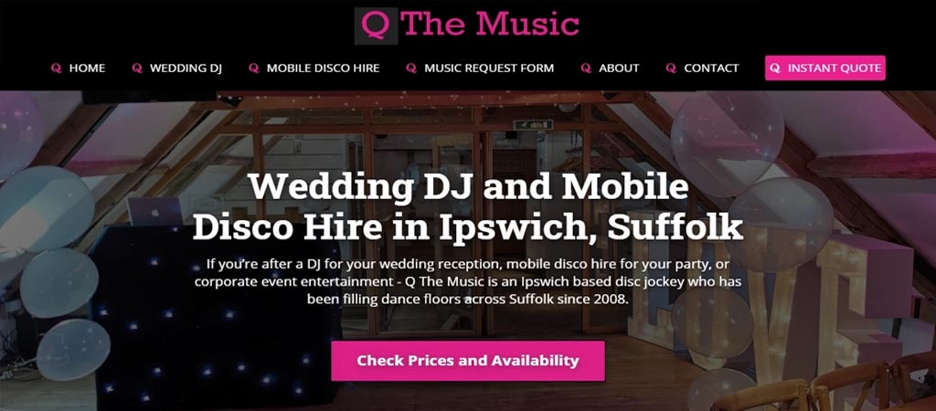 Website Design for Q The Music Mobile Disco